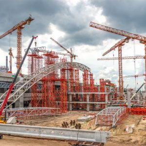 Industrial Cranes on Construction of Expressway Site in Asia