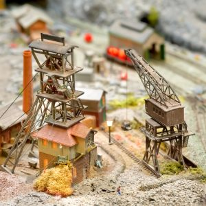coal mining buildings and equipment on a model train set layout
